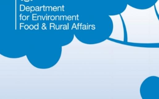 Department for environment, food and rural affairs logo in white on blue background