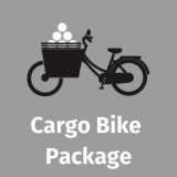 a digital drawing of a cargo bike with the words 'cargo bike package' underneath