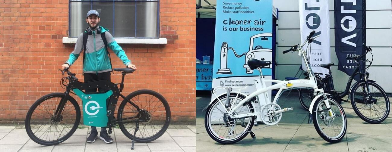 Delivery rider posing with electric bike