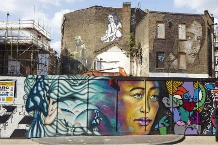 Colourful murals and street art in Shoreditch