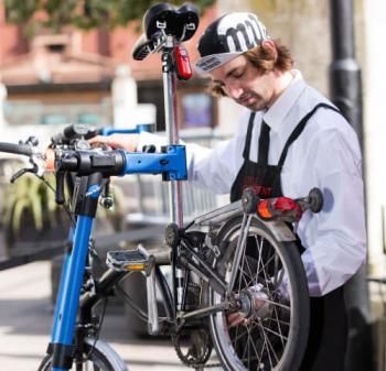 Man fixes bike