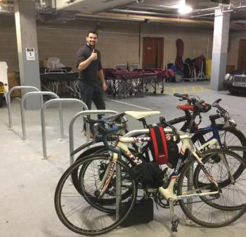 bikes are parked in an underground car park