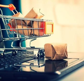 Shopping trolley on keyboard