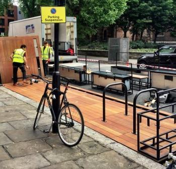 Parklet being built