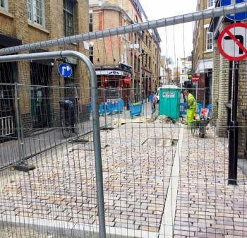 Rivington St with works going on