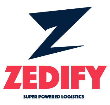 A big black Z with ZEDIFY written in red below and super powered logistics written underneath that