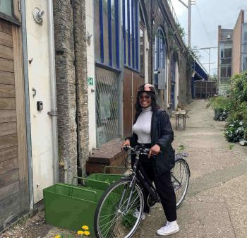 Staff member on Zero Emissions Network funded pool bike cycling again after 15 years